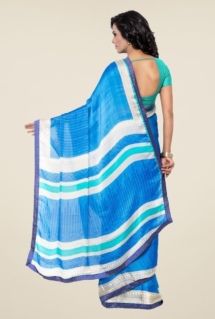 Triveni Blue Printed Faux Georgette Silk Saree