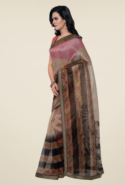 Triveni Brown Printed Supernet Saree