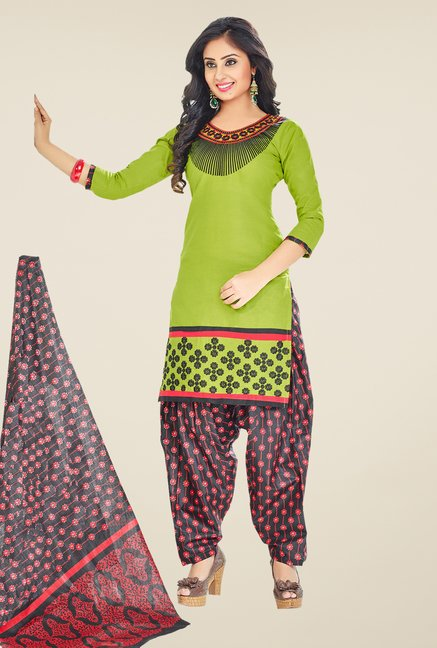Salwar Studio Green & Black Embroidered Unstitched Patiala Suit
