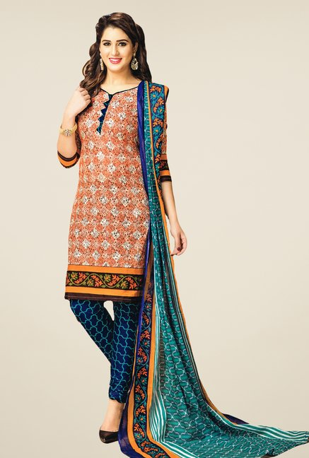 Salwar Studio Orange & Blue Printed Dress Material