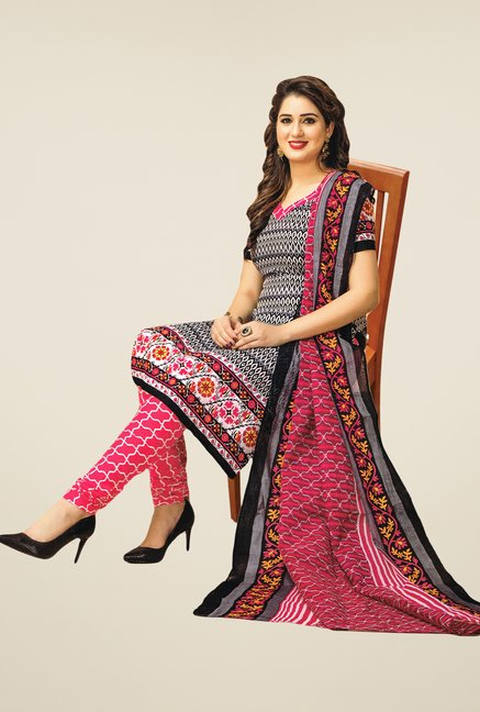 Salwar Studio Black & Pink Embroidered Dress Material