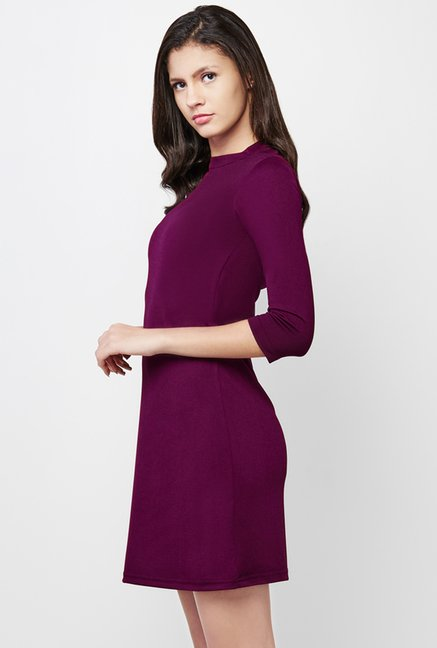 AND Purple Solid Dress