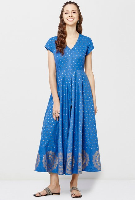 Global Desi Blue & Beige Printed Kurta And Palazzo Set