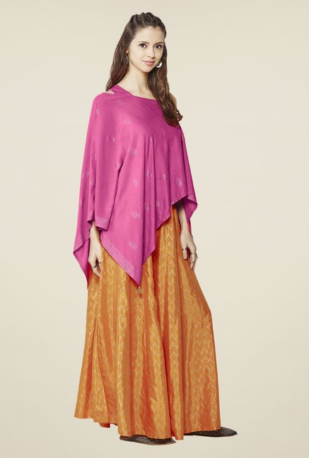 Global Desi Pink & Orange Printed Kurta And Palazzo Set