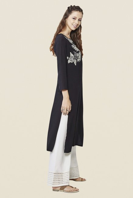 Global Desi Black Embroidered Kurta