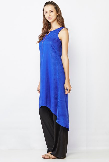 Global Desi Blue Self Print Kurti