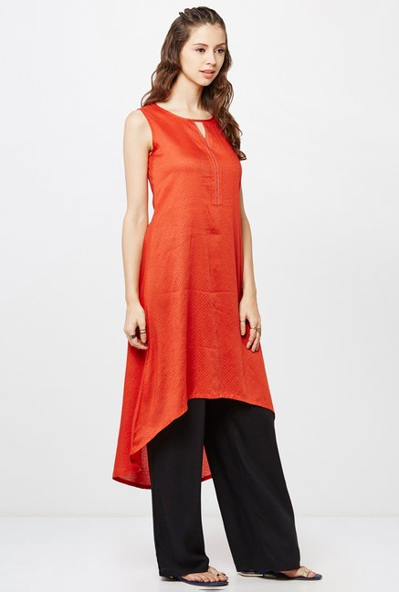 Global Desi Orange Self Print Kurti