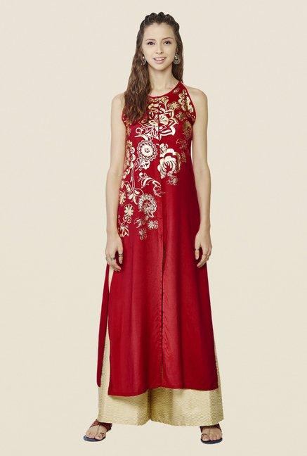 Global Desi Red & Beige Printed Kurta And Palazzo Set