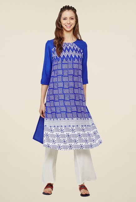 Global Desi Blue & White Printed Kurta
