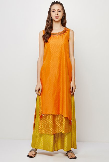 Global Desi Orange & Yellow Printed Kurta And Palazzo Set