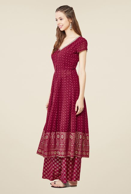 Global Desi Maroon Printed Kurta And Palazzo Set