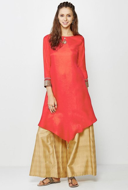 Global Desi Coral Textured Kurti