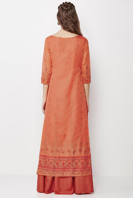 Global Desi Orange Embroidered Kurta And Palazzo Set