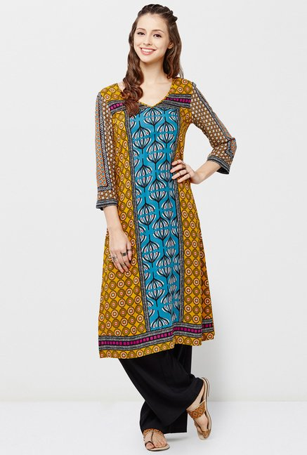 Global Desi Mustard & Blue Printed Kurta