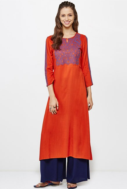 Global Desi Orange Embroidered Kurta
