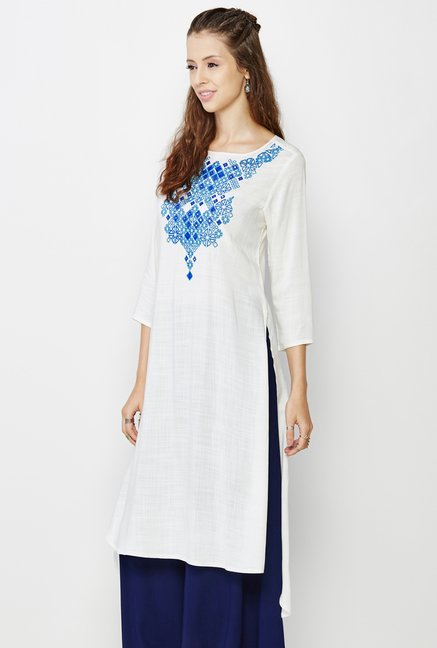 Global Desi Off White Embroidered Kurti