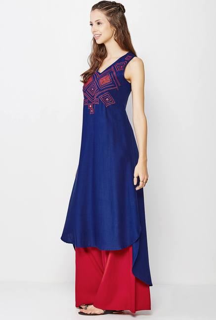 Global Desi Navy Embroidered Kurta