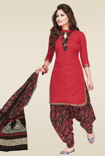 Ishin Red & Black Printed Dress Material