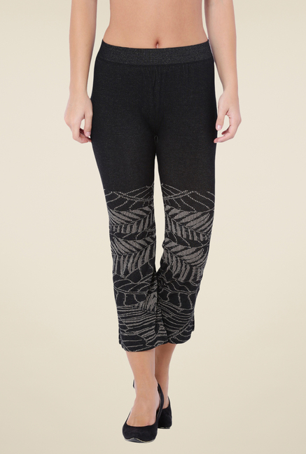 C9 Seamless Black Printed Flat Pants