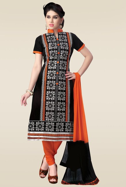 Ishin Black & Orange Embroidered Dress Material