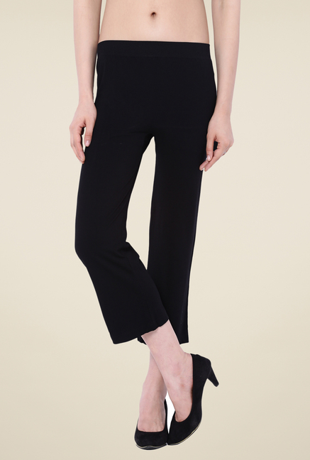 C9 Seamless Black Solid Flat Pants