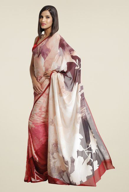 Satya Paul Beige Super Georgette Satin Saree