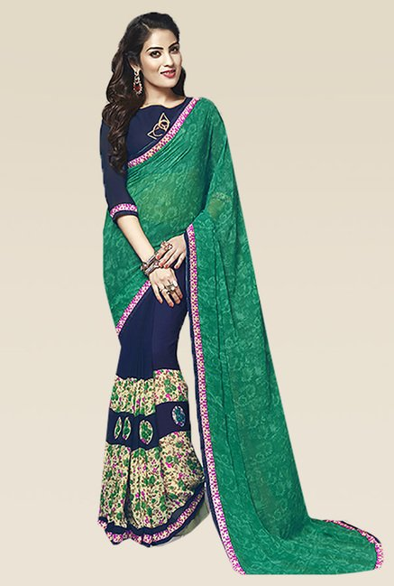 Ishin Blue & Green Printed Saree