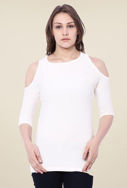 C9 Seamless White Self Print Fashion Top