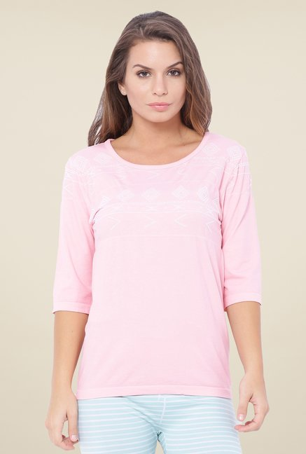 C9 Seamless Pink Printed Fashion Top