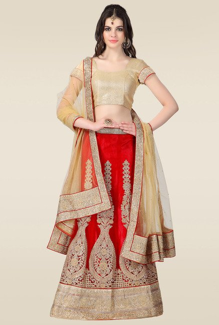 Janasya Red Embroidered Lehenga