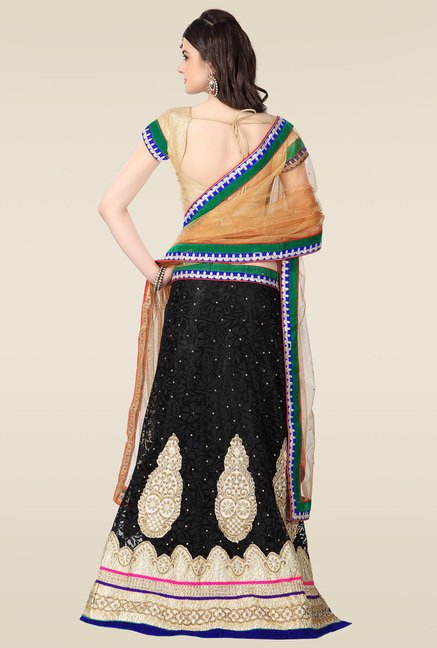 Janasya Black Embroidered Lehenga