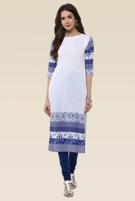 Janasya White & Royal Blue Kurti