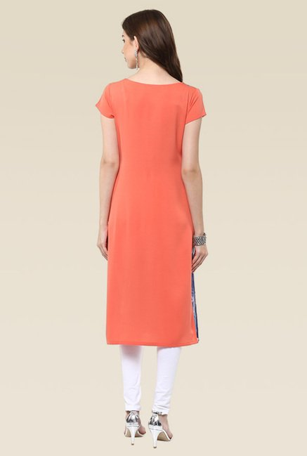 Janasya Multicolor Cap Sleeves Kurti