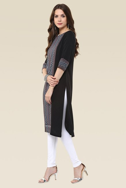 Janasya Black Elbow Sleeves Kurti