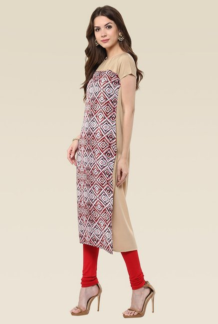 Janasya Multicolor Cap Sleeves Faux Crepe Kurti