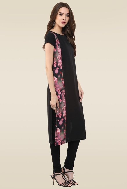 Janasya Black Printed Cap Sleeves Kurti
