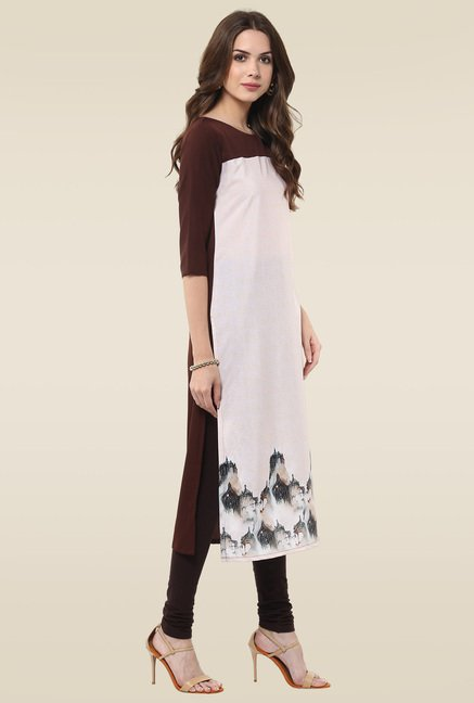 Janasya Cream & Brown Kurti