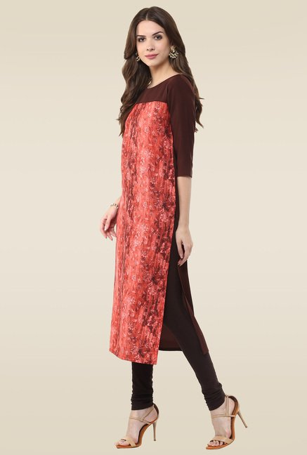 Janasya Red & Brown Kurti