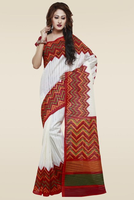 Janasya Red & White Ethnic Saree