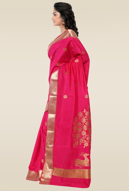 Janasya Pink Kanchipuram Art Silk Saree