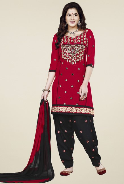 Ishin Red & Black Embroidered Dress Material