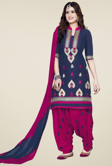 Ishin Blue & Pink Embroidered Unstitched Dress Material