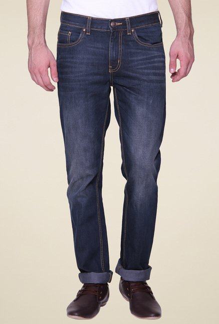 Vudu Navy Mid Rise Slim Fit Jeans
