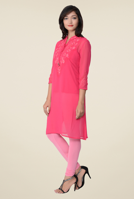 Juniper Pink Embroidered Kurti