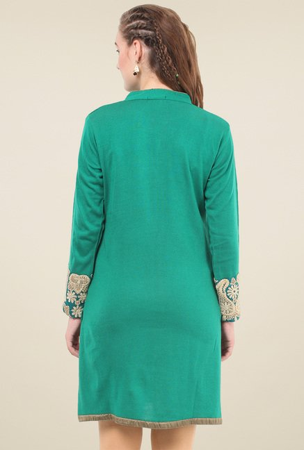 Duke Green Mandarin Collar Kurti