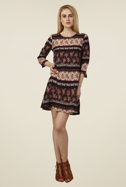 Oxolloxo Maroon & White Floral Print Dress