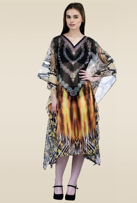 Ahalyaa Multicolor V-Neck Regular Fit Kaftan