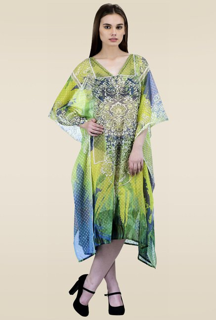 Ahalyaa Green 3/4th Sleeves Kaftan