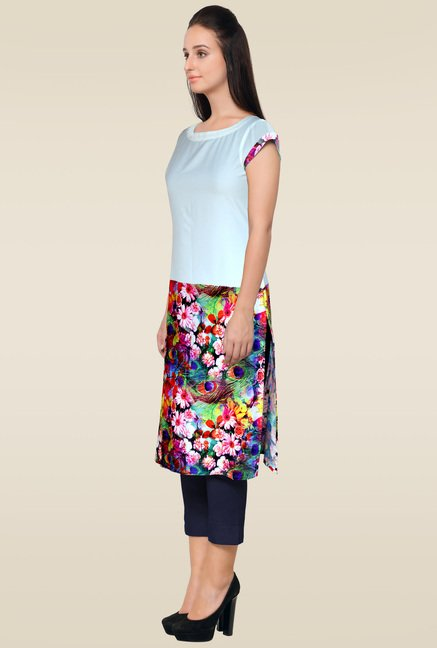Ahalyaa Multicolor Cap Sleeves Kurti