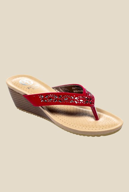 b21680b304c Buy Pavers England Red Wedge Heeled Thong Sandals for Women at Best Price    Tata CLiQ